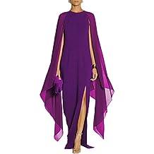 La Mujer Es Elegante Cuello Redondo Largo Vestido De Fiesta De Gasa Patchwork Slit