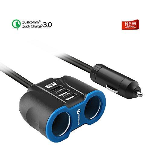 Eletrand 2-Socket Auto Zigarettenanzünder Splitter 12V/24V Adapter Auto Steckdose mit Quick Charge 3.0 und zwei Smart USB Auto Ladegerät für Handy Tablet GPS Dash Cam Radar Detektor Schwarz