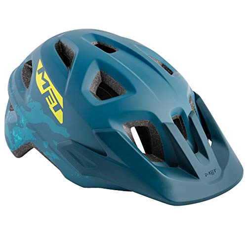 MET Eldar Kinder Jugend Fahrrad Helm 52-57cm MTB Skate Kopf Schutz Halbschale Mountain Bike, 5700250, Farbe Blau