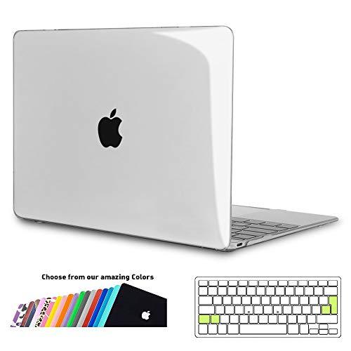 ineseon custodia macbook 12 pollici, plastica cover rigida duro case shell e eu versione trasparente tastiera copertina per macbook 12 con retina display modello a1534, trasparente