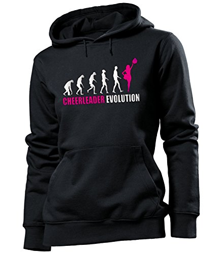 love-all-my-shirts Cheerleader Evolution 595 Tanzsport Frauen Damen Hoodie Pulli Kapuzen Pullover Kapuzenpullover Sportbekleidung Fanartikel Schwarz Aufdruck Pink M