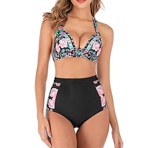 hmtitt Damen-Badebekleidung, Art- und Weisesommer-reizvoller Damen-Bikini-Blumen gedruckte Neckholder-Beachwear-aufgeteilte Badeanzug-Badeanzüge, die Kostüme Schwimmen (In Kostüm Nähe Mir Der Von)