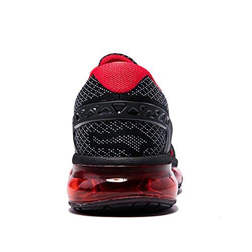 Onemix Homme Femme Air Amortissement Baskets Mixte Adulte Respirante Fitness Gym Running Chaussures Noir rouge