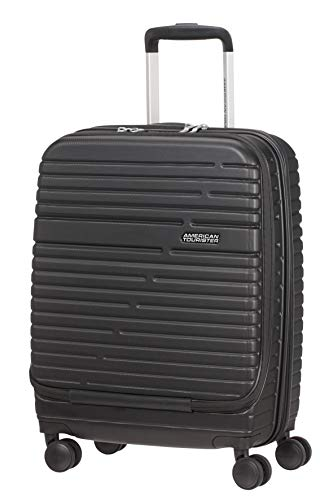 American Tourister Aero Racer - Spinner Small - Front Loader, Hand Luggage 55 cm, Jet Black (Black) - 121750/1465