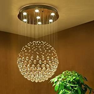 Saint Mossi Lustre en cristal goutte de pluie et plafonnier lumière 6 LED GU10 bulbe obligatoire (chrome Terminer), plafond Luminaire bureau, salle à manger, chambre à coucher