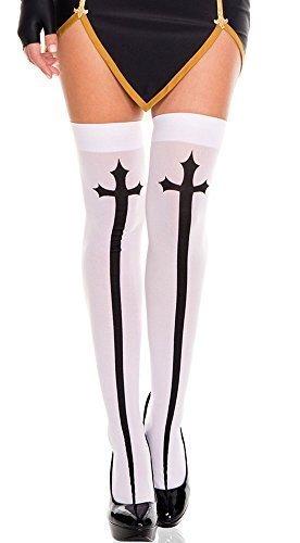 Damen weiß oder schwarz Sexy Nonne Kreuz Detail Kostüm Kleid Outfit Halterlose Strümpfe Socken - Weiß, (Nonnen Outfit)