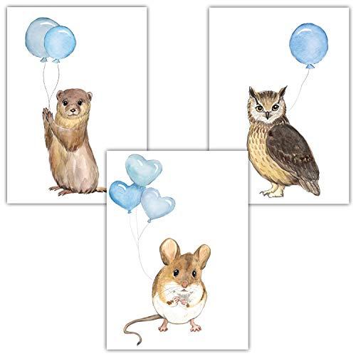 Frechdax® 3er Set Kinderzimmer Poster Baby Bilder DIN A4   Waldtiere Safari Afrika Tiere Tierposter Luftballon Ballon Farbwahl (3er Set Blau, Eule, Maus, Otter)