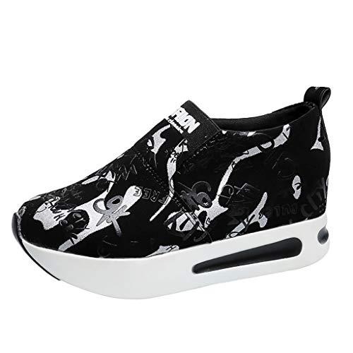 Damen Sportschuhe mit Keilabsatz Sneaker Wedges Turnschuhe Plateau Laufschuhe Slip-On Dicke Plattform Freizeitschuhe Freizeit Plateauschuhe (EU:39, Weiß)