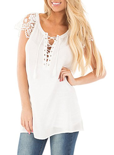 ACHICGIRL Women's Lace Sleeves Lace up Tunic Top white