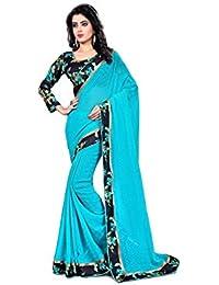 Online Bazaar Georgette Saree (Online_Saree-2129-Blue_Blue)