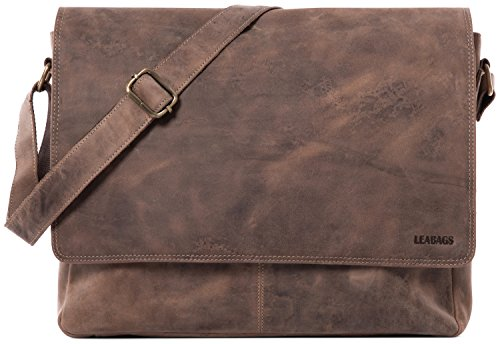 LEABAGS Oxford Umhängetasche aus echtem Büffel-Leder im Vintage Look - Fallow (Leder Männer Grau)