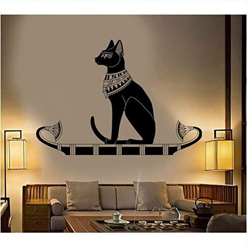 Qqasd Wanddekoration Tier Wandtattoo Aufkleber Schlafzimmer Dekor Alten Ägypten Ägyptischen Katze Vinyl Kunst Removeable Wandbild 58x40 cm -