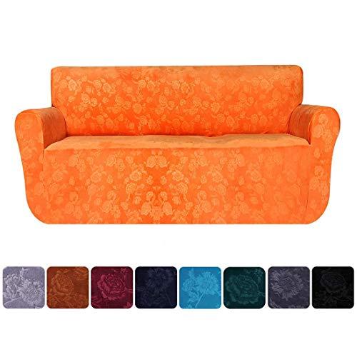 Sofahusse, Stretch, Rutschfest, weicher Samt, Möbelschutz, Sofa-Überwurf, Überwurf, elastische Prägung, Blumenmuster, Couch-Schonbezüge, Orange, 3 Seater/Sofa(72'-96')