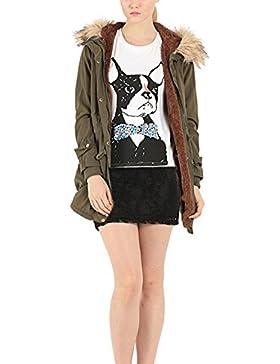 Dantiya (mujer)El abrigo de algodón con gorro espeso parka caliente capucha Verde