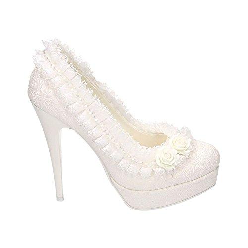Damen Brautschuhe Hochzeit Pumps Weiß Strass Nieten Stilettos Elegant High Heels Plateau Abend Schuhe Bequem Weiß 22