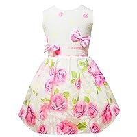 Little Sorrel Girls Party Dresses Pink Rose Flower Bow tie Sundress Size 2-7 Years for Kids