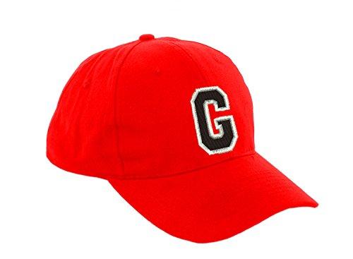 Unisex Jungen Mädchen Mütze Baseball Cap ROT Hut Kinder Kappe Alphabet A-Z Morefaz TM (G)