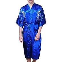 JTC Men's Chinese Silk Satins Dragon Night Gwon Sleepwear Embroidery Bathrobe Night Wear 4Colors