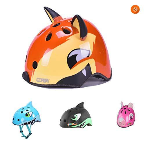 YGJT Casco de Bicicleta Patinete Infantiles para niños 2-5 años Casco Protección Seguridad Zorro Color Naranja
