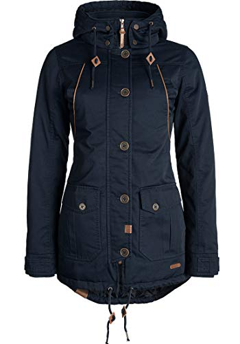 DESIRES Annabelle Damen Übergangsparka Parka Übergangsjacke Lange Jacke mit Kapuze, Größe:L, Farbe:Insignia Blue (1991)