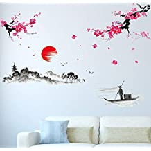 Amazon Brand - Solimo Wall Sticker for Living Room (The Lake & The Mountains, Ideal Size on Wall - 200 cm x 150 cm)