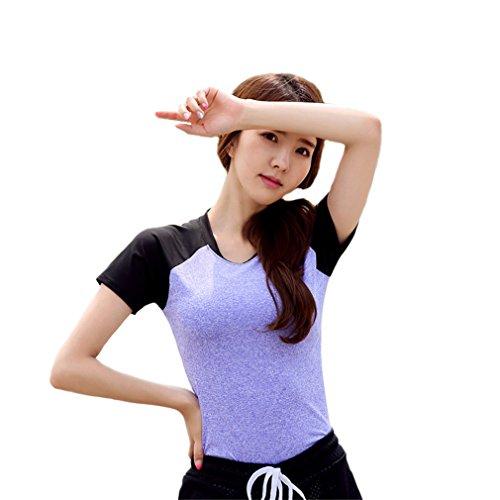 REALLION Femmes Noir et Violet Coutures en Cours Yoga Courir Casual Manches Courtes T-Shirt Violet et noir