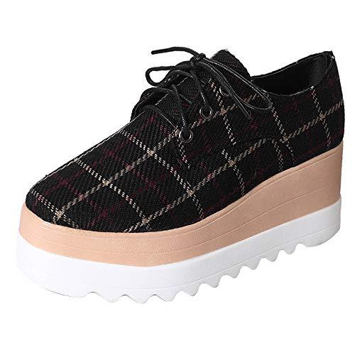 Sneaker Damen Mode, Sonnena Frauen Schnürer Flach Boden Plateau Plaid Schuhe Erhöhen Sie High-Sole Sneaker Casual Low-Top Thick Bottom Schuhe Bequeme Sportschuhe 35-39