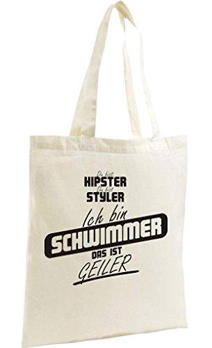 Shirtstown Shopping Bag Organic Zen, Shopper du bist hypster du bist styler ich bin Schwimmer das ist geiler natur