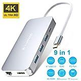 VANMASS USB C Hub 9 in 1 Aluminium USB C Adapter 4 Chips mit Type C PD (90W) 4K HDMI Anschluss 4 USB 3.0 Ports SD/TF Kartenle