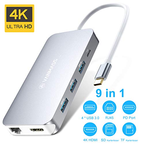 VANMASS USB C Hub 9 in 1 USB C Adapter Aluminium【4K HDMI, RJ45 Gigabit Ethernet, Type C PD, 4 USB 3.0 Ports, SD/TF Kartenleser】 USB C Dock 4 VR Chips für MacBook Air/Pro, Sumsung Andere Type-C Geräte