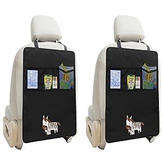 Auto Rückenlehnenschutz Zuoao Rückenlehnen Tasche Trittschutz mit Rücksitz-Organizer,Kinder Rücksitzschoner Kick-Matten-Schutz passend für die meisten den Autositz Schwarz