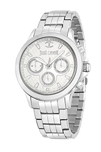 Just Cavalli Just Iron Men's Quartz Watch with Silver Dial Analogue Display and Orange Stainless Steel Strap R7253596002
