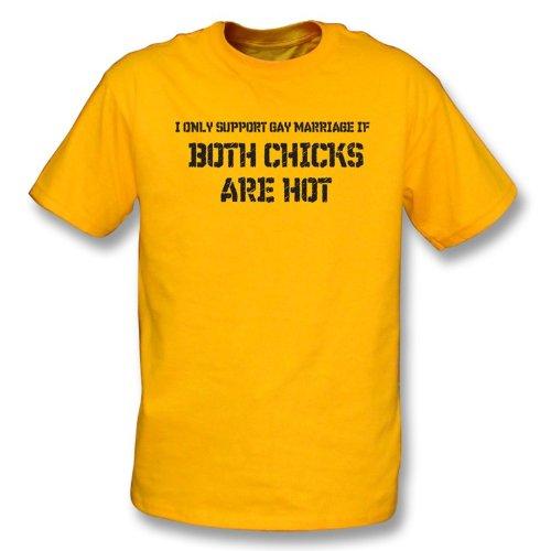 Küken Mädchen T-shirt (TshirtGrill Homosexuelle Ehen, wo beide Küken heißes T-Shirt - Mädchen X-Großer Slimfit sind, Farbe- Gelb)