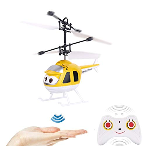 Mini helicóptero teledirigido con mando a distancia, bola de flying LED, aviones de infrarrojos, juguete volador para niños y adultos amarillo