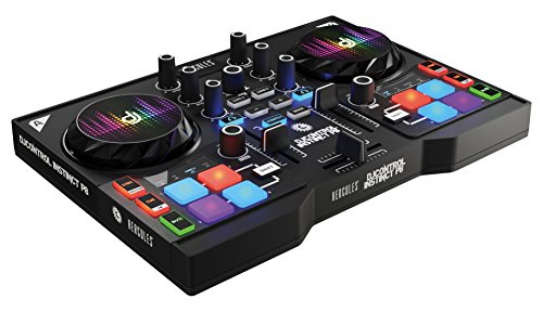 Hercules DJ Control Instinct P8 Party Pack (2-Deck DJ Controller, 8 Performance-Pads, integr. Soundkarte, 8 LED-Armbänder, DJUCED 40°, PC / Mac) (Mixer-ausgang-kabel)