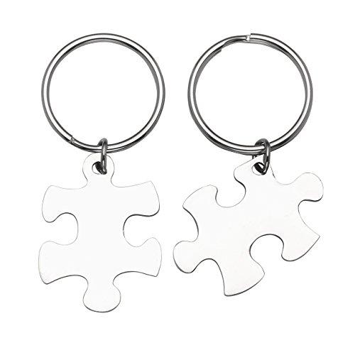 BOPREINA Personalized Gravur 2X Edelstahl 33*22mm Zwei Puzzle Schlüsselanhänger Partner Paare Liebe Freundschaft Schlüsselbund Schlüsselring Keychain (Silber, mit Gravur)