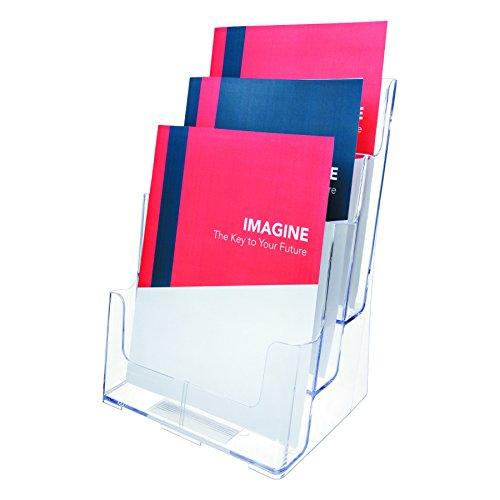 Deflecto Multifach Prospektständer (für Wand oder Schreibtisch, 3 x A4-Fächer) transparent