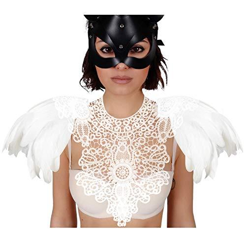 Homelex Gotisch Weiß Wirklich Feder Epaulette Schulter Flügel Für Männer Damen, Ym-18, Einheitsgröße
