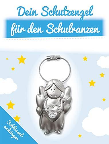 ART + emotions Schlüsselanhänger - Schutzengel für den Schulranzen - Glücksbringer für Schulkind - Engel aus Metall mit geschliffenem Glasstein als Geschenkidee zur Einschulung und Schulanfang (Personalisierte Schulrucksäcke Für Jungen)
