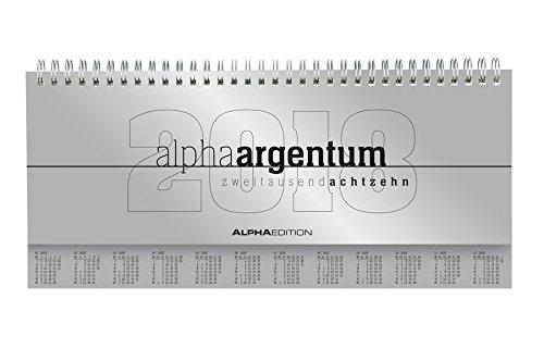 Preisvergleich Produktbild Tisch-Querkalender alpha argentum 2018 - Tischkalender / Bürokalender (29,7 x 13,5) - 1 Woche 2 Seiten - silber