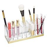 mDesign praktischer Kosmetik Organizer – dekorative Kosmetik Aufbewahrungsbox für Nagellack und Lippenstift – Ablage mit 24 Fächern zur Schminkaufbewahrung – durchsichtig und messingfarben