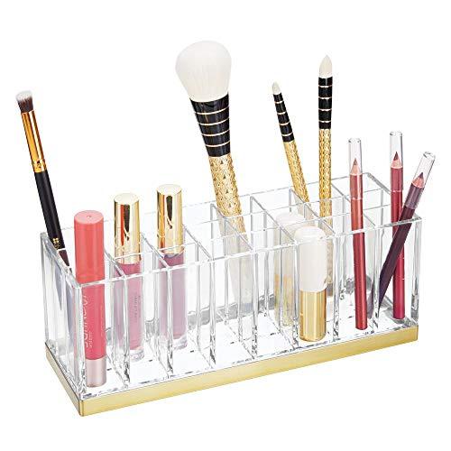 mDesign praktischer Kosmetik Organizer - dekorative Kosmetik Aufbewahrungsbox für Nagellack und Lippenstift - Ablage mit 24 Fächern zur Schminkaufbewahrung - durchsichtig und messingfarben