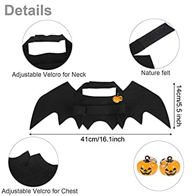 4 Pieces Halloween Cat Costume Cat Cape Bat Costume Wings with Pumpkin Bells for Halloween Pet Costume by Boao