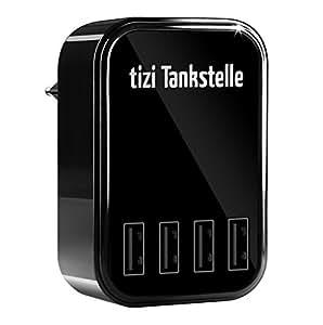 equinux Tizi Tankstelle Eco (4 Ports). 4fach-USB-Ladegerät Universal als Heim- und Reisenetzteil für die Steckdose für iPhone, iPad, Smartphones