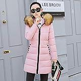 ALIKEEY Damen Winter Parka Warmer Mantel Kunstpelz mit Kapuze Starke warme dünne Jacke Langer Mantel XL Rosa