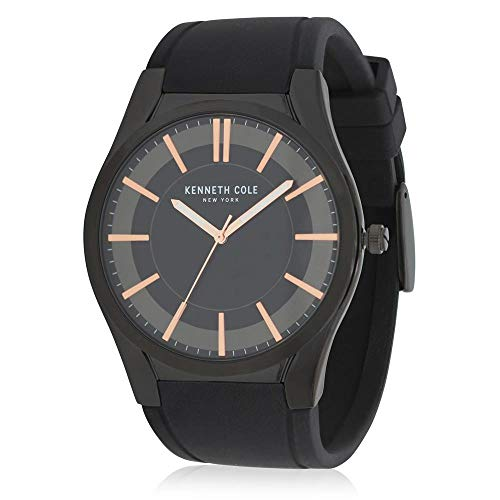 Kenneth Cole Men's 27mm Black Silicone Band Steel Case Quartz Watch KC50489004