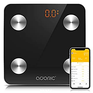 Body Fat Scales Bluetooth, Adoric Smart Digital Scale with APP for Android and iOS, Tempered Glass Surface, Auto On/Off, Body Composition Monitor Measures Weight (Black)
