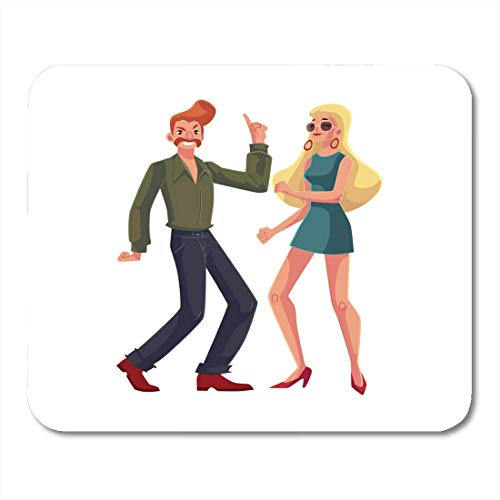 Deglogse Gaming-Mauspad-Matte, Red Haired Man and Blond Woman 1970S Dancing Disco Cartoon White with Beehive and Girl in Short 1960S Mouse Pad,Desktop Computers Mens Disco