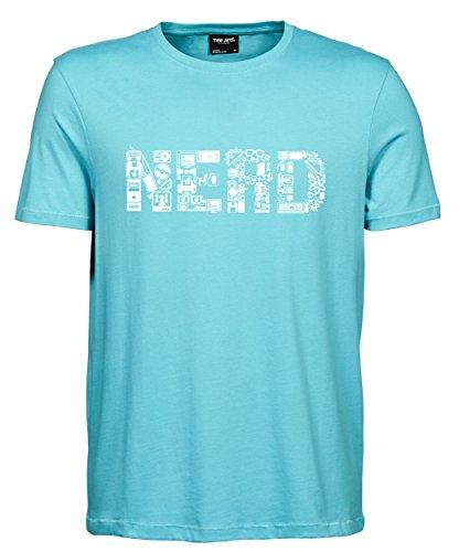 makato Herren T-Shirt Luxury Tee Nerd Aqua/White
