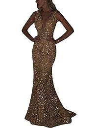 Vestiti Donna Eleganti da Cerimonia Lunghi Vestito Lungo Scollo a V Senza  Maniche Maxi Abito da 5701195469a